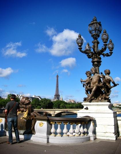 View of Eiffel Tower from Pont Alexander III bridge Paris, Fance.